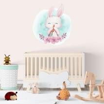 Vinili e adesivi coniglio per bambini con fiori
