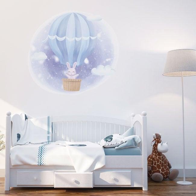 Vinile e adesivi per bambini coniglio sul palloncino