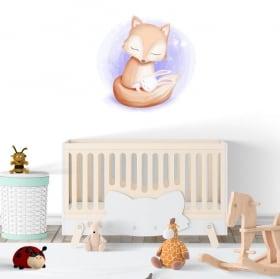 Adesivi in vinile neonato o bambino volpe e coniglio