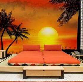 Murali in vinile illustrazione di tramonto della spiaggia