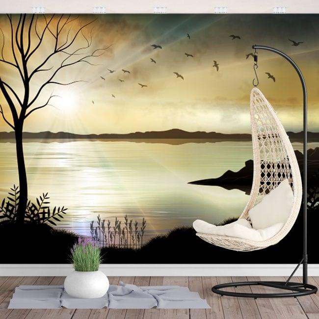 Murali in vinile illustrazione paesaggio al tramonto