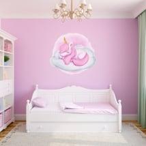 Adesivi in vinile per bambini unicorno nuvola