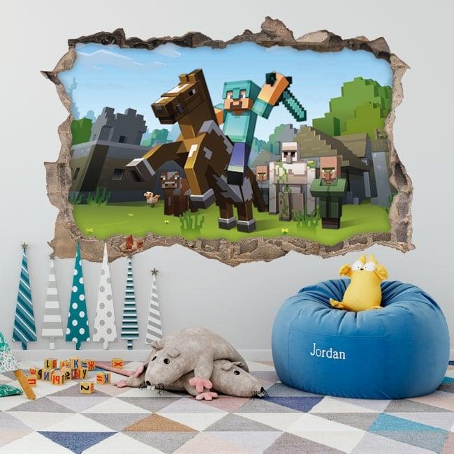 Vinile e adesivi 3d videogioco minecraft