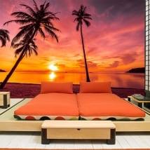 Murali in vinile palme tramonto sulla spiaggia