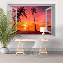 Finestre in vinile 3d palme tramonto sulla spiaggia