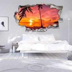 Autoadesivi 3d palme tramonto sulla spiaggia