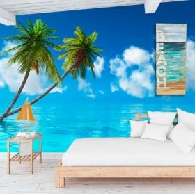 Murali in vinile palme nel mare