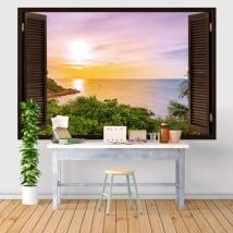 Vinili e adesivi finestra tramonto nel mare 3d