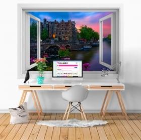 Adesivi murali caffè papeneiland amsterdam finestra 3d
