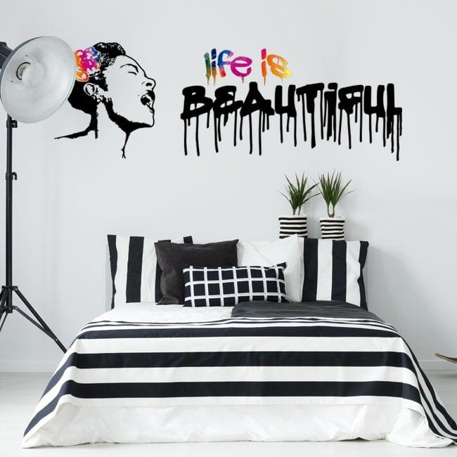 Adesivi in vinile graffiti banksy la vita è bella