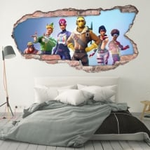 Vinili decorativi pareti 3d videogioco fortnite