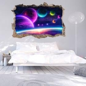 Adesivi murali 3d colori dallo spazio stellare