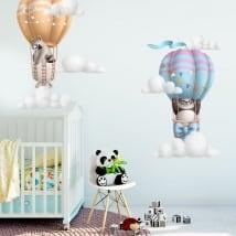 Vinile e adesivi per bambini orso panda e procione in mongolfiera