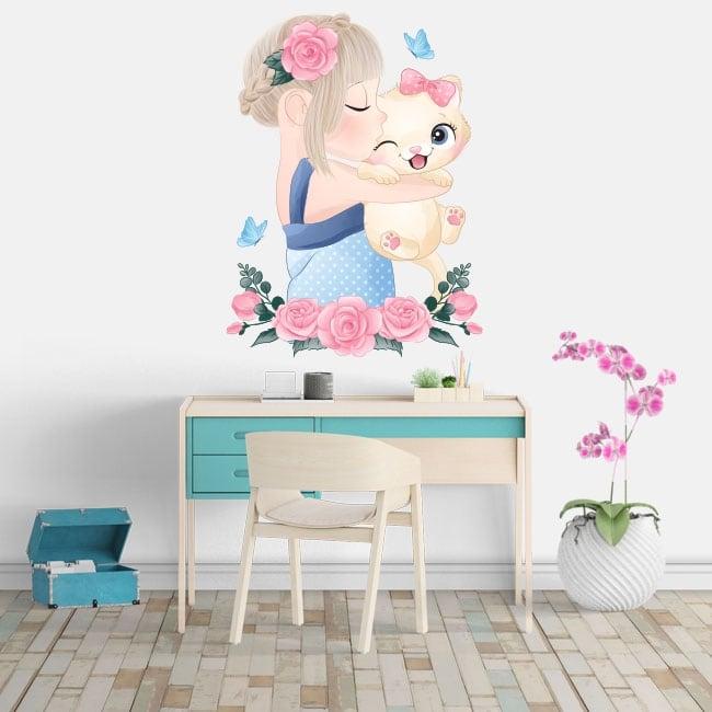 Adesivi in vinile ragazza con il gatto fiori e farfalle
