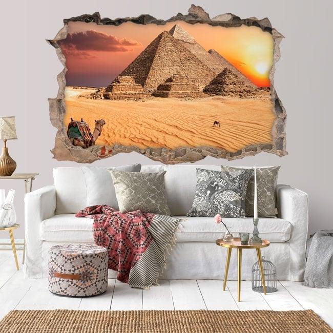Piramide Adesivo da Parete 3D Look da Salotto Camera da Letto Egitto Città