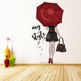 Vinili decorativi e adesivi donna silhouette il mio stile
