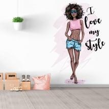Vinili decorativi silhouette donna con frase amo il mio stile