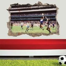 Adesivi e vinili di calcio 3d maradona la mano di dio