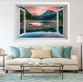 Vinile decorativo 3d finestra lago el pont de suert