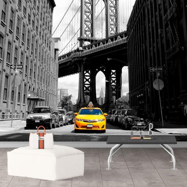 Murale da parete taxi a new york e manhattan bridge