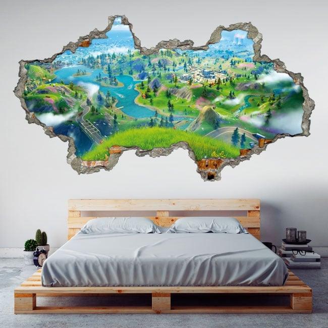 Adesivi in vinile muro rotto videogioco fortnite 3d