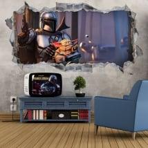Vinili e adesivi 3d il mandaloriano videogioco fortnite