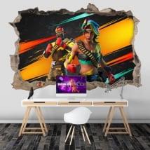 Vinile adesivo 3d buco muro videogioco fortnite