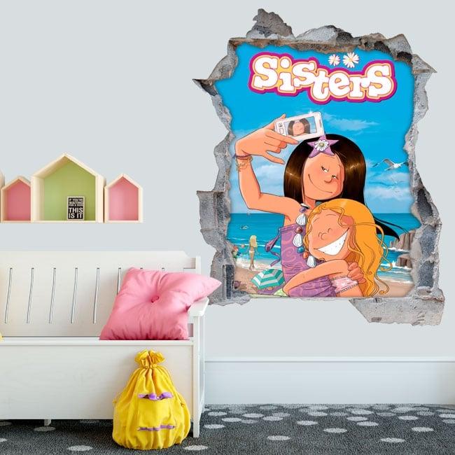 Vinile e adesivi foro muro 3d les sisters