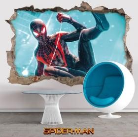Vinili decorativi 3d miles morales spider-man
