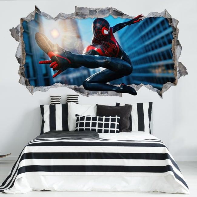 Adesivi in vinile miles morales spider-man 3d