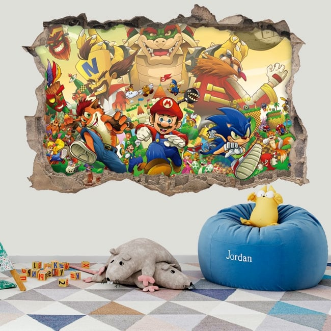 Adesivi in ​​vinile 3d sonic the hedgehog crossover