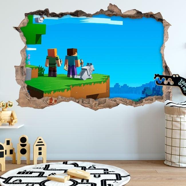 Adesivi foro 3d videogioco di minecraft