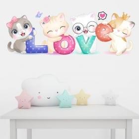 Vinile e adesivi murali gatti love