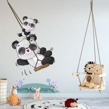 Vinili e adesivi per bambini orsi panda sull'altalena