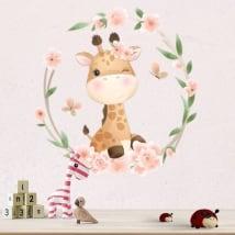 Vinile e adesivi murali giraffa con fiori