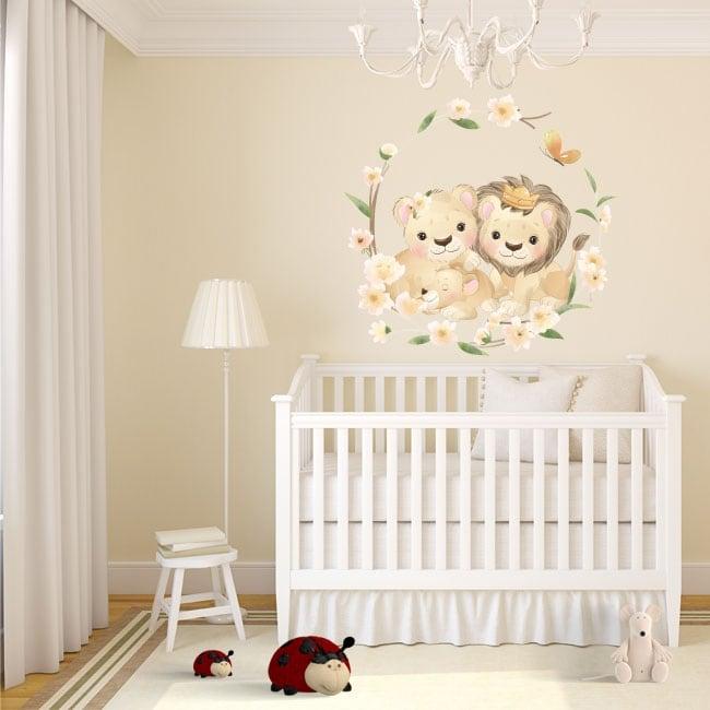 Vinile e adesivi murali famiglia di leoni con fiori