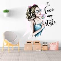 Vinili decorativi silhouette donna i love my style