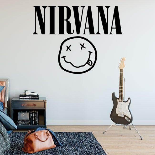 Vinile e adesivi rock and roll logo nirvana