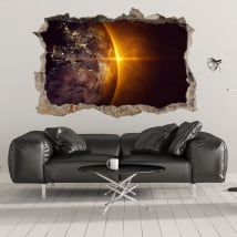 Vinili 3d pianeta terra e sole