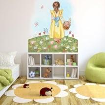 Vinili adesivi illustrazione ragazza con fiori e farfalle