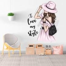 Adesivi in vinile silhouette donna i love my style