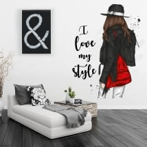 Vinili silhouette donna con frase i love my style