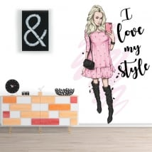 Adesivi in ​​vinile silhouette donna frase i love my style