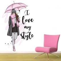 Vinili silhouette di donna frase i love my style