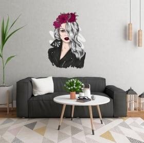 Vinili e adesivi silhouette di donna con fiori