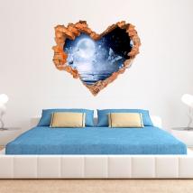 Luna e farfalle del vinile 3d