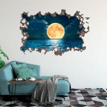 Adesivi 3d di luna e mare
