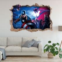 Marvel 3d buco adesivo