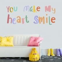 Vinili frase inglese you make my heart smile