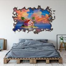 Adesivo murale 3d dragon ball